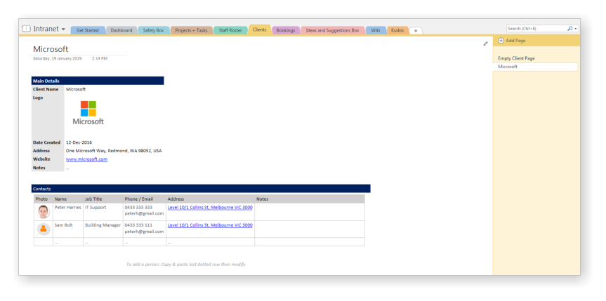 Intranet-in-a-Box-Clients Onenote Newsletter Template on organized notes, meeting notes,