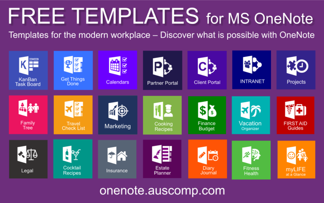 Download Free OneNote Templates – Biggest Template Collection (KanBan, GTD, Family Tree, Diary, Journal, Projects, Client Portal, Calendars, Partner Portal, Estate Planner, Move House, Vacation Organizer, Cooking Recipes, Finance, Legal, Insurance, Fitness & Intranet)