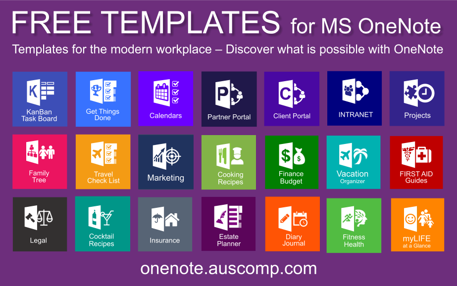 Download free OneNote Templates & Solutions (KanBan, GTD, Family
